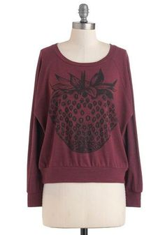 @ModCloth Oversized maroon Long Sleeve Pullover With Strawberry Graphic. http://zodiacfashion.blogspot.com/