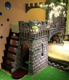 Roman Castle - kids play space, bed, bunk bed, family bed, all handcrafted, DIY, sculptured extruded polystyrene foam, kids room. Every kids dream!
