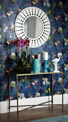 Tropical Dark blue wallpaper with tropical leaf and floral design