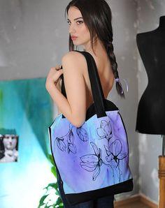 Magnolia floral handpainted tote bag, unique spring bag, handcrafted bag