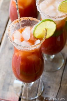 Spicy Michelada Recipe - A Mexican cocktail similar to a Bloody Mary, made with beer, tomato juice, lime juice and spices. This simple recipe is loaded with