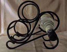 HEAVY BLACK WROUGHT IRON WINE RACK- Beautiful ScrollWork Design- Holds 3 Bottles #Unbranded $20.99