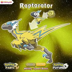 Congrats, your Raptrix has evolved into Raptorator, the Lightning Seizer! Dex Entry: Shockingly fast predator, faster than a speeding… Pokemon Memes, Pokemon Rpg, Pokemon Breeds, Pokemon Fake, Pokemon Cards, Pokemon Fusion Art, Pokemon Fan Art, Pokemon Pokedex, Gijinka Pokemon