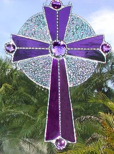 Purple Stained Glass Cross Suncatcher - Decorative Christian Design - 9516-PU on Etsy, $39.95 Stained Glass Angel, Stained Glass Suncatchers, Sun Catchers, Stained Glass Designs, Stained Glass Patterns, Stain Glass Cross, Mosaic Glass, Fused Glass, Glass Etching