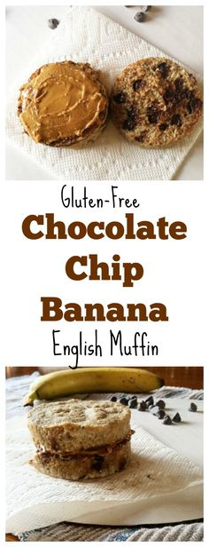 Make This #glutenfree Chocolate-Chip Banana English muffin for a quick and easy breakfast made in the microwave! #vegan #healthy