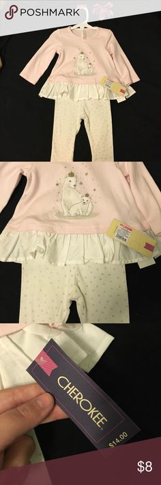 🎀 Baby Girl Outfit 🎀 Brand new with tags from Target! Bought it for my newest member but she is actually too big for it! Adorable pale pink top with polar bears and silver sparkly dotted white leggings! The size is 3-6 months. 💖 Cherokee Matching Sets