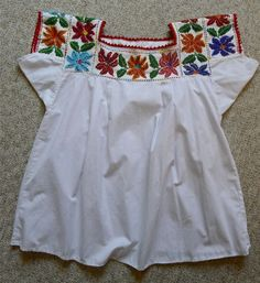 Mexican embroidered beaded blouse huipil Puebla by LivingTextiles