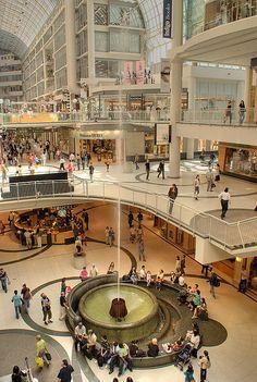 Fountain in Toronto Eaton Center. Toronto Eaton Center is the shopping centre an , Shopping Mall Interior, Shopping Malls, Ottawa, Eaton Centre, Toronto Ontario Canada, Atrium, Shopping Center, Beautiful Places, Mall Design