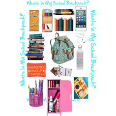 """""""Whats In My School Backpack?"""" by vivilove722 on Polyvore"""