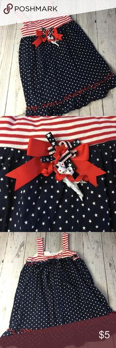 🗽🇺🇸Patriotic Dress in 3T🗽🇺🇸 Super cute patriotic dress, gently loved no stains, etc in GUC in a 3T. 😺Pet free home 🔥 Smoke free home 🤷♀️Please read entire description  🤷♀️I love bundles and will always reply with a counter offer! Dresses Casual