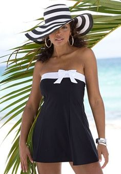 A classic take on the swimdress... this bandeau-style swimdress w/ contrast white band & bow (also comes in navy) is a sleek design and comes w/ removable straps. I would def rock this poolside.