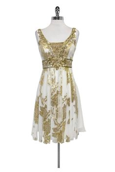 Sue Wong- White & Gold Beaded Dress Sz 2 | Current Boutique