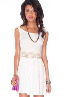 Mid-Lace Crisis Tank Dress in Ivory