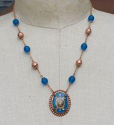 Sea Turtle Necklace Vintage Glass Intaglio Cerulean by LilisGems