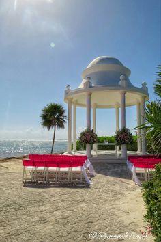 Ocean front wedding gazebo, Grand Palladium Riviera Complex #GrandPalladium #RomanceTravel   Follow us on Instagram @RomanceTravel  Grand Palladium Riviera Maya, Wedding Gazebo, Destination Wedding, Ocean, Outdoor Structures, Instagram, Destination Weddings, The Ocean, Sea