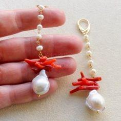 Orecchini in argento 925 placc oro perle barocche e corallo