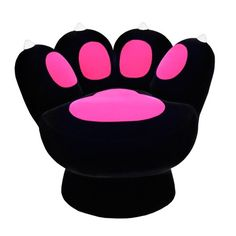 Hot pink and black paw chair