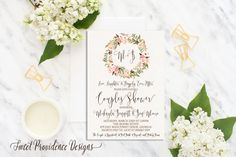 Couples Shower Invitation / Printable Couples Shower Invite/ Romantic Floral Shower Invitation / Floral Watercolor Wedding Invitation