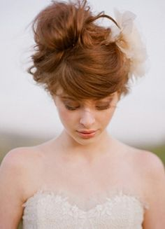 messy updo  beauty, bride, classic, dress, fashion, hair, makeup, outdoor, peach, rustic, semi-casual, sweet