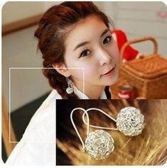 2015 도매 한국어 귀걸이 패션 귀여운 성격 중공 볼 스터드 귀걸이 XY-E334