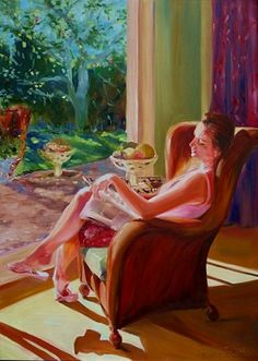 """""""Five minute's peace"""" - by Cecilia Rosslee Oil Painting For Sale, Paintings For Sale, Figure Painting, Original Paintings, Oil Paintings, Peace Painting, Painting Canvas, Painting Trees, Painting Portraits"""