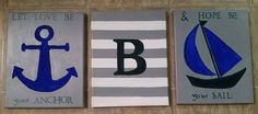 Check out this item in my Etsy shop https://www.etsy.com/listing/205902662/nautical-theme-baby-nursery-paintings