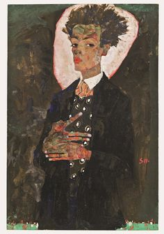 Self-Portrait with Peacock Waistcoat (1911), Egon Schiele. © Collection of Ernst Ploil