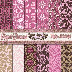Digital Paper Pack Nature Tones Royal Damask  Pink Brown  12 pcs by DigitalMagicShop, $2.50