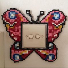 Butterly light switch frame hama beads by tineroerbeck