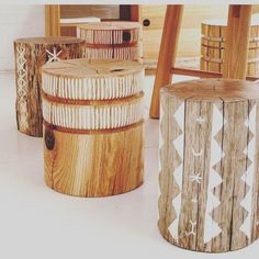 These tree stump stools are gorgeous! They are sustainably sourced and hand painted. Available via @poppyandscott and made by @bobbyandtide. Re-post by Hold With Hope #outdoorwood Tree Stump Table, Tree Stumps, Painted Furniture, Diy Furniture, Tree Stump Furniture, Garden Furniture, Wood Stumps, Creation Deco, Home Projects