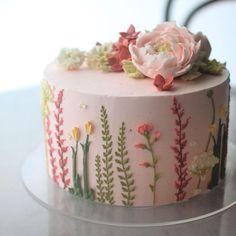 35+ Most Popular Cakes on Pinterest Birthday Cake With Flowers, Pretty Birthday Cakes, Pretty Cakes, Cute Cakes, Beautiful Cakes, Cake Birthday, Cake Flowers, Happy Birthday, Birthday Ideas