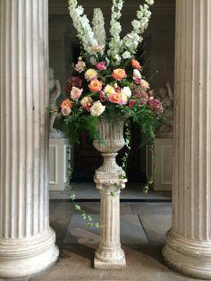 Woburn Sculpture Gallery stone urn pedestal designed by Wild Orchid www.wildorchidweddingflowers.co.uk