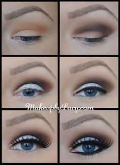 Smokey-eye-glitter | love this!!! but i would probably smudge the bottom liner, looks a little harsh. But I love the solid glitter