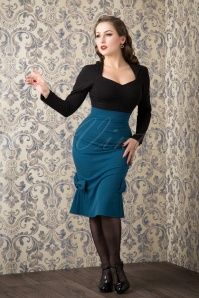 50s Helene Pencil Skirt in Petrol Blue