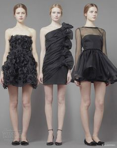 valentino fall 2013 2014 ready to wear short black dresses one shoulder sleeve