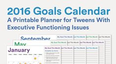 2016 Goals Calendar: A Printable Planner for Tweens With Executive Functioning Issues