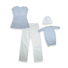i play.® Mommy & Me Pajamas Blue - Small/Medium $59.99 This stylish nursing loungewear for new moms is the epitome of comfort. The pretty nursing top has built-in bra support with discreet breastfeeding access and the pants have a drawstring waist. The set also includes an adorable matching gown and cap for baby. 100% cotton jersey. Machine wash. Imported.