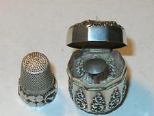 Antique sterling silver thimble and open work repousse sewing thimble case
