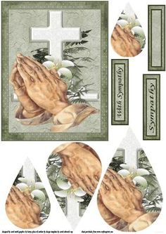 A teardrop sympathy sheet in shades of green with praying hands in front of a cross matching tags say with sympathy and sympathy also a blank tag for the greeting of your choice  thank you for looking please take a peek at my other items