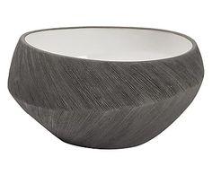 Centrotavola in ceramica grigio e bianco, d 25/h 13 cm