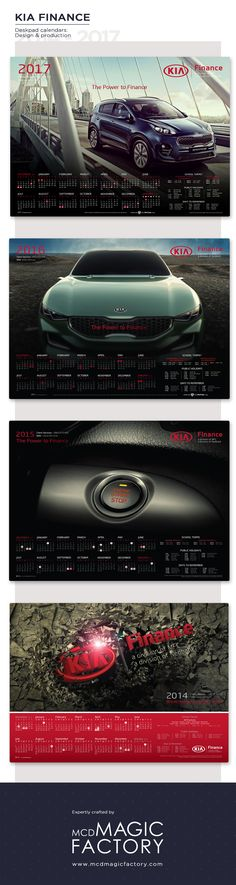 Client: KIA Finance | Year: 2014 - 2017 | Design and production of desk pad calendars for dealers.