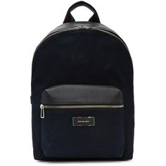 PS by Paul Smith Navy Canvas and Leather Backpack (26.860 RUB) ❤ liked on Polyvore featuring men's fashion, men's bags, men's backpacks, navy, mens canvas backpack and mens leather backpack