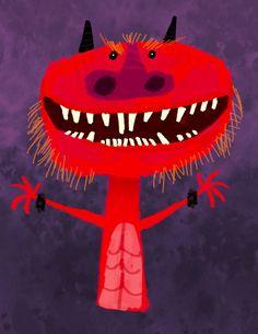 Dragon, Lou Romano. Monster Illustration, Children's Book Illustration, Cute Monsters, Weird Creatures, Monster Art, Naive Art, Art Plastique, Cat Art, Painting Inspiration