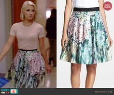 Quinn's blush pink short sleeve sweater and floral skirt on Glee Glee Fashion, Skirt Fashion, Fashion Dresses, Quinn Fabray, Glee Wedding, Dress Outfits, Cool Outfits, Pink Shorts, Heidi Klum