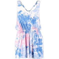 Boohoo Petite Liza Knot Back Tie Dye Playsuit ($26) ❤ liked on Polyvore featuring jumpsuits, rompers, dresses, romper, playsuits, sheer camisole, sheer jumpsuit, jump suit, playsuit romper and blue jumpsuit
