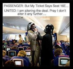 Uh oh wrong seat my bad.... #starwars #darthvader #unitedairlines