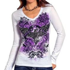 Rock & Roll Cowgirl Eagle Shirt - Long Sleeve Large White