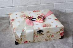 Купить Короб для фотоальбома - бежевый, картонаж, короб для хранения, фотоальбом, ткань, хлопок, картон, хранение