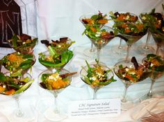 Salad Display | Our CAC Signature Salad served in a gleaming Martini glass.