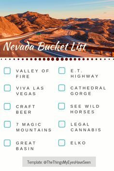 Travel Nevada Bucket List The Things My Eyes Have Seen Travel List, Solo Travel, Usa Travel, Spain Travel, Mens Travel, Travel Checklist, Ways To Travel, Places To Travel, Travel Things